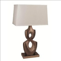 White and Pewter Table Lamp by CrownMark