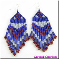 Native American Beaded Earrings Fringe Beadwork in Blue Gray and Red