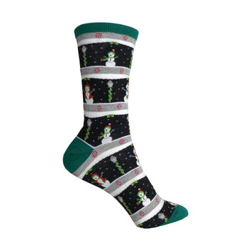 Snowmen Crew Socks in Black