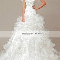 Off Shoulder Organza Ball Gown with Ruffled Skirt