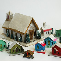MId Century Christmas Village, PUTZ Miniature Christmas Houses, Custom Christmas Gift For Wife Mom, Miniature Paper Christmas Church, Japan