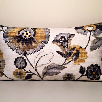 "2 Handmade Pillow Covers - Abstract Floral Print - READY TO SHIP - Pair of 12"" X 20"" Cushion Covers in Gray, Black, Cream & Yellow"