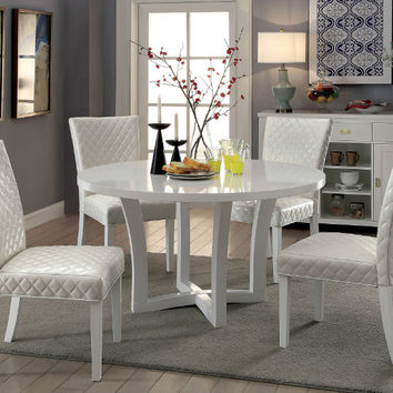 "Furniture of america CM3651RT-WH-5PC 5 pc Reidar white finish wood 54"" round dining table set"