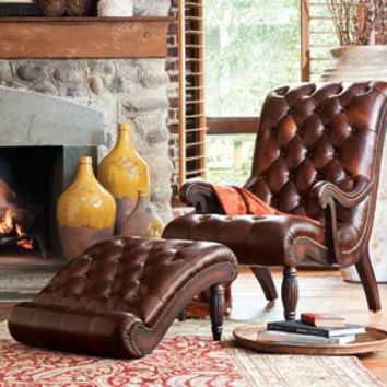 Sorrento Leather Club Chair & Ottoman - Living Room - Furniture - NapaStyle