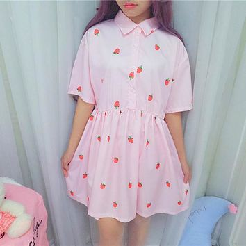 2018 New Women Harajuku Dress Cute Sweet Japanese Style Dresses Strawberry Print Kawaii Turn-Collar Dress Female #6261