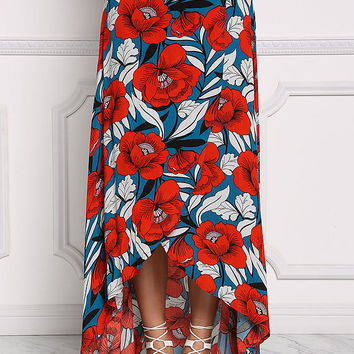 Blue and Red Floral Wrap Maxi Skirt