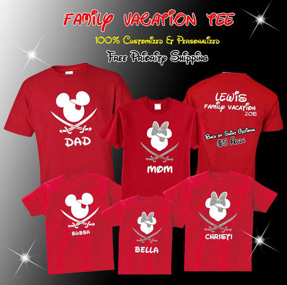 Disney Vacation Pirate Family Shirts Personalized Mickey