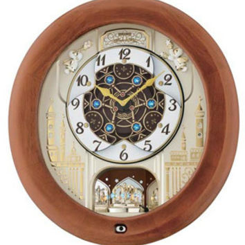Seiko Melodies In Motion Wall Clock - Swarovski Crystals - Brown Wood Case