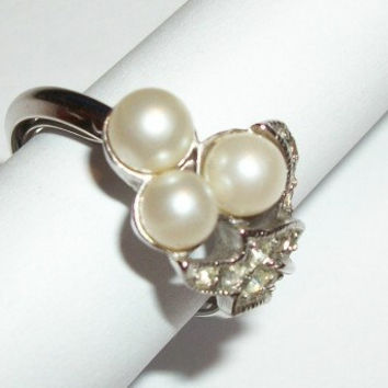 Vintage Ring Pearl Rhinestone Cocktail Ring Formal Regal Classic Bridal Wedding June Birthstone Woman's  Size Large Self Adjusting Jewelry