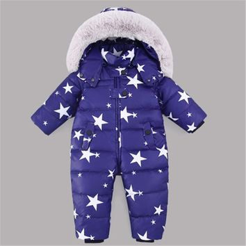 Russia Winter kids Snowsuit Romper 12M-4T Baby jumpsuit Duck Down Jackets Thick Warm Overall Down Coats Boys Girl Kids Clothes