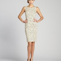 Dolce & Gabbana beige and black polka dot sleeveless fitted dress | BLUEFLY up to 70 off designer brands