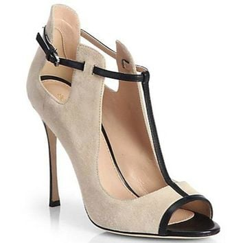Ladies Peep Toe Buckle Suede  Heel
