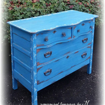 Distressed Antique vintage wavy Upcycled shabby chic, country cottage, french country, blue dresser with stenciling ! Chalk paint, waxed