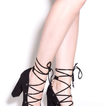 My Feet Are Tied Lace-Up Chunky Pumps