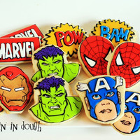 Superhero Cookies, Spiderman, Captain America, Hulk,  Iron Man -  1 Dozen