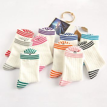 2016 Simple College Wind Cotton Candy Color Cute Sweet Striped Fashion Female Socks