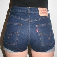 Vintage Dark Denim Reworked High Waisted Levis Shorts 501's from Beworn