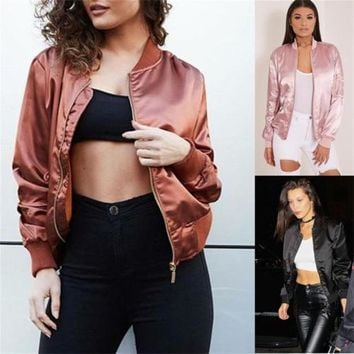 Women's Classic Bomber Jacket Coat Clothes Biker Outwear Zip Up Windbreaker US
