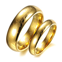 Gold Plated Tungsten Steel Lord of the Rings Couple Ring- Men-Size 10