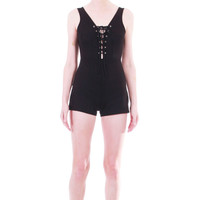 90s Vintage Black Bodycon Corset Romper Stretchy Super High Waist Shorts One Piece Sexy Minimalist Goth Summer Festival Womens Size XS