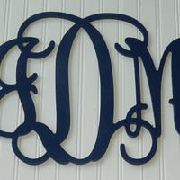 "Wall Hanging Painted Monogram 15""  Size Personalized Wooden Letters Wedding Decor Childrens"