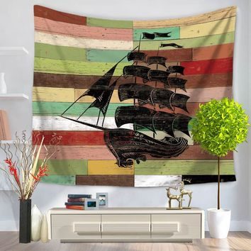 sailing Boat Stripe Tapestry Floral Printed Boho India Hanging Wall Tapestries 130cmx150cm 150cmx200cm Home Decor