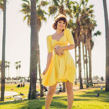 "Mod YELLOW Cherrybomb Swing Dress with 3/4 Sleeves handmade by Hardley Dangerous Couture, Retro Pin Up Bridesmaid Dress 38"" Length"