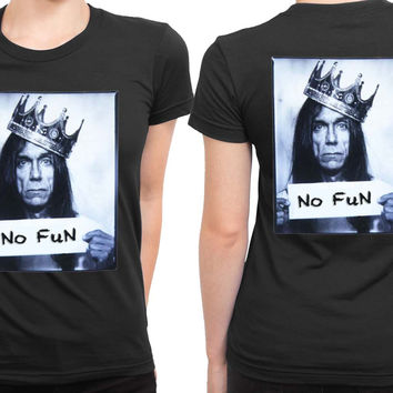 Iggy Pop No Fun Expression 2 Sided Womens T Shirt