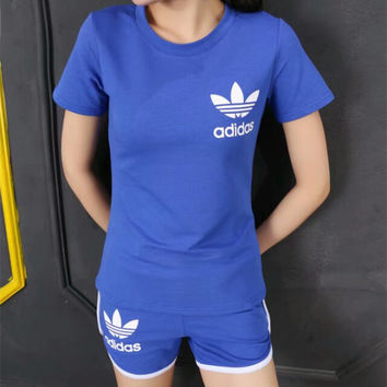 """Adidas"" Fashion Casual Clover Letter Print Short Sleeve Set Two-Piece Sportswear"