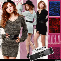 Rakuten: [knit dress   with the bulky MIX material ★ belt] It has been had GC] ◆- Shopping Japanese products from Japan