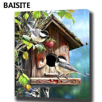 BAISITE DIY Framed Oil Painting By Numbers Animal Pictures Canvas Painting For Living Room Wall Art Home Decor Y5254