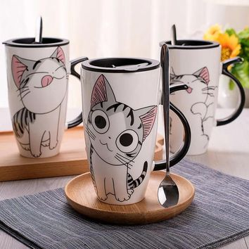 AliCute0044- Fashion Cat Cup Large-Capacity Cartoon Design Japanese Silicone Lid Mug Gifts Personality Coffee Cup Creative Home
