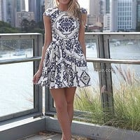 PAISLEY PRINT DRESS , DRESSES, TOPS, BOTTOMS, JACKETS & JUMPERS, ACCESSORIES, SALE, PRE ORDER, NEW ARRIVALS, PLAYSUIT, COLOUR,,Blue,White,Print Australia, Queensland, Brisbane