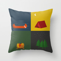 Camping Series: Canoe, Tent, Fire, Trees Throw Pillow by brittcorry