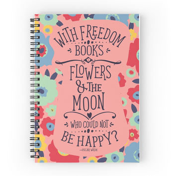 'light pink floral' Spiral Notebook by SleeplessLady