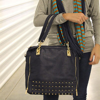Blue Tote with Studded Trim and Zipper Closure - HaileyMason, LLC Store