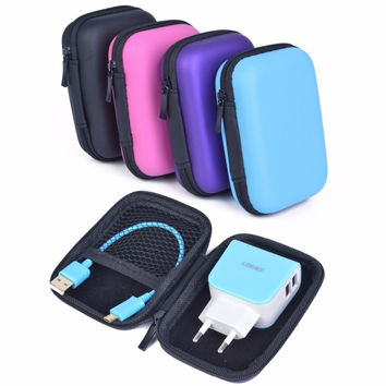 Coolsell Mobile Phone Bags EVA Hard Cases Portable Mini Storage Case for Cellphone Headphone USB Cables and Chargers Pouches