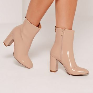 Missguided - Patent Heeled Ankle Boots Nude
