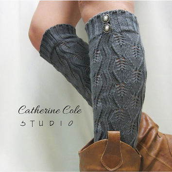 Open crochet knit leg warmers charcoal grey  / womens leaf knit pattern  great with cowboy boots by Catherine Cole Studio legwarmers