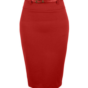 Fitted High Waisted Midi Skirt with Faux Leather Belt
