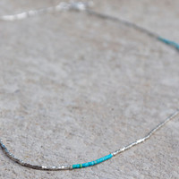 Very thin turquoise and tiny silver cube bead convertible necklace or bracelet Modern delicate wrap bracelet Very fine turquoise jewellery
