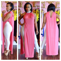 Pink Halter Sleeveless Long Top