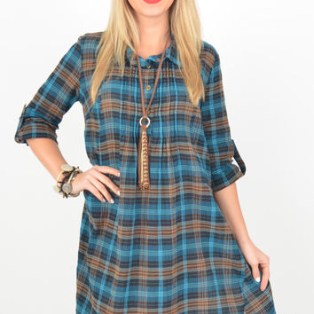 Teal and Chocolate Plaid Pattern Dress with Pleat Detail