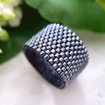 Black Pyrite Ring Band Beaded Iridescent by JeannieRichard on Etsy