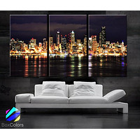 "LARGE 30""x 60"" 3 Panels Art Canvas Print Washington Seattle city night lights buildings river skyline Wall Home (Included framed 1.5"" depth)"