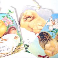 Easter Chick Tags -  Set of 8  - Vintage Easter -  Yellow Chicks - Holiday Tags - Spring Chick - Easter Eggs -  Easter Tags