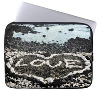 "Hawaii black sand beach & coral ""love"" heart photo computer sleeve"