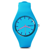High Quality Geneva Silicone Candy Colored Men's Casual Watch