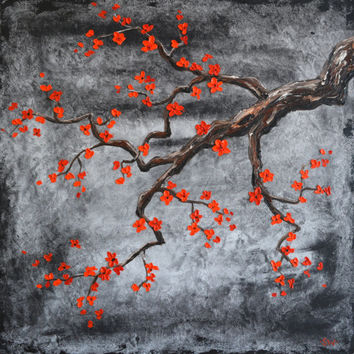 Red Cherry Blossoms in the Moonlight Original Painting