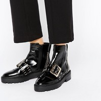 River Island Buckle Front Studded Ankle Boot at asos.com